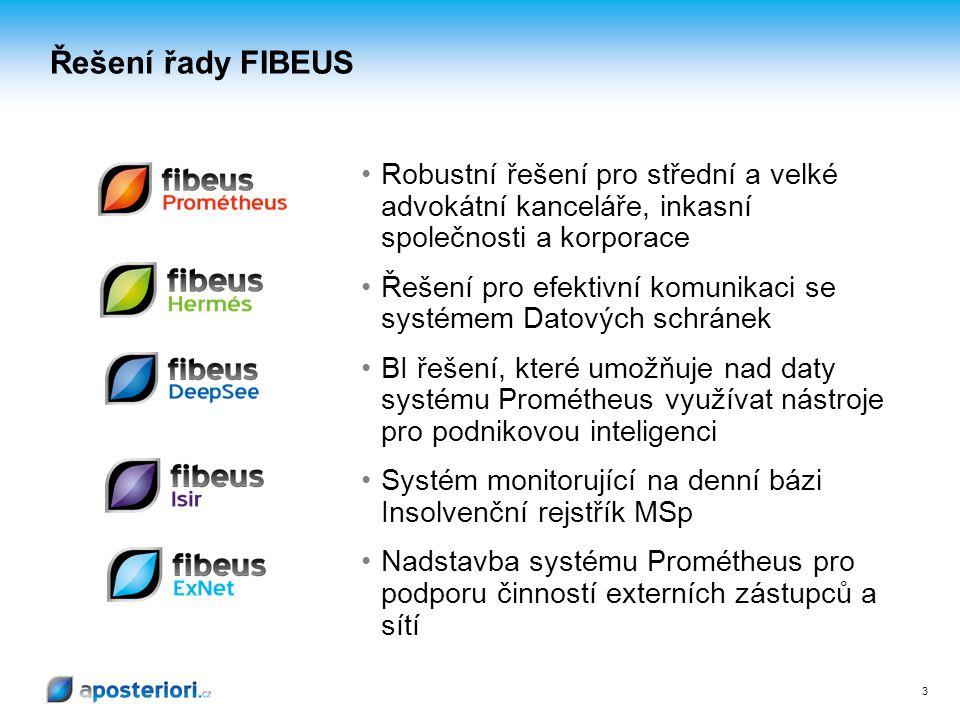 3 3 Řešení řady FIBEUS Robustní řešení pro střední a velké advokátní kanceláře, inkasní společnosti a korporace Řešení pro efektivní komunikaci se sys