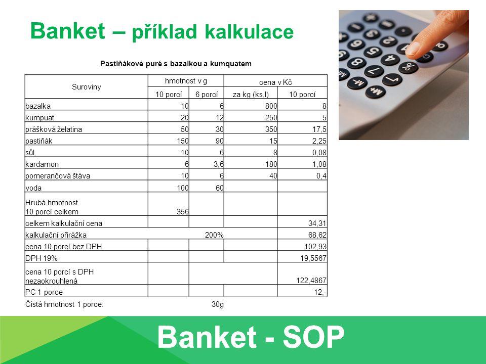 Banket – příklad kalkulace Pastiňákové puré s bazalkou a kumquatem Suroviny hmotnost v g cena v Kč 10 porcí6 porcíza kg (ks,l)10 porcí bazalka1068008 kumpuat20122505 prášková želatina503035017,5 pastiňák15090152,25 sůl10680,08 kardamon63,61801,08 pomerančová štáva106400,4 voda10060 Hrubá hmotnost 10 porcí celkem356 celkem kalkulační cena 34,31 kalkulační přirážka200% 68,62 cena 10 porcí bez DPH 102,93 DPH 19% 19,5567 cena 10 porcí s DPH nezaokrouhlená 122,4867 PC 1 porce 12,- Čistá hmotnost 1 porce:30g