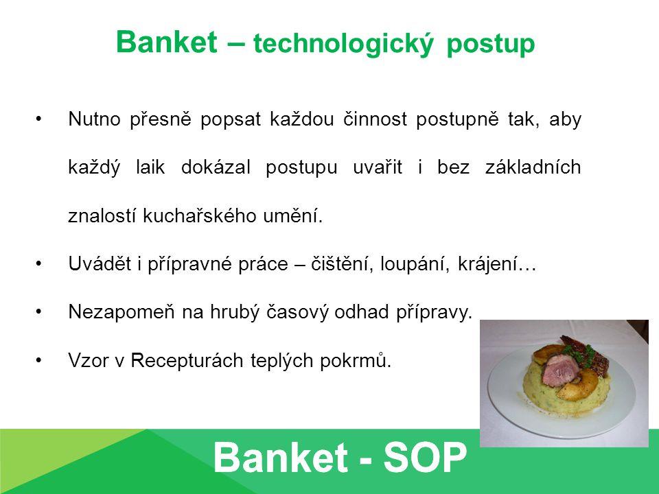 Banket – technologický postup Nutno přesně popsat každou činnost postupně tak, aby každý laik dokázal postupu uvařit i bez základních znalostí kuchařs