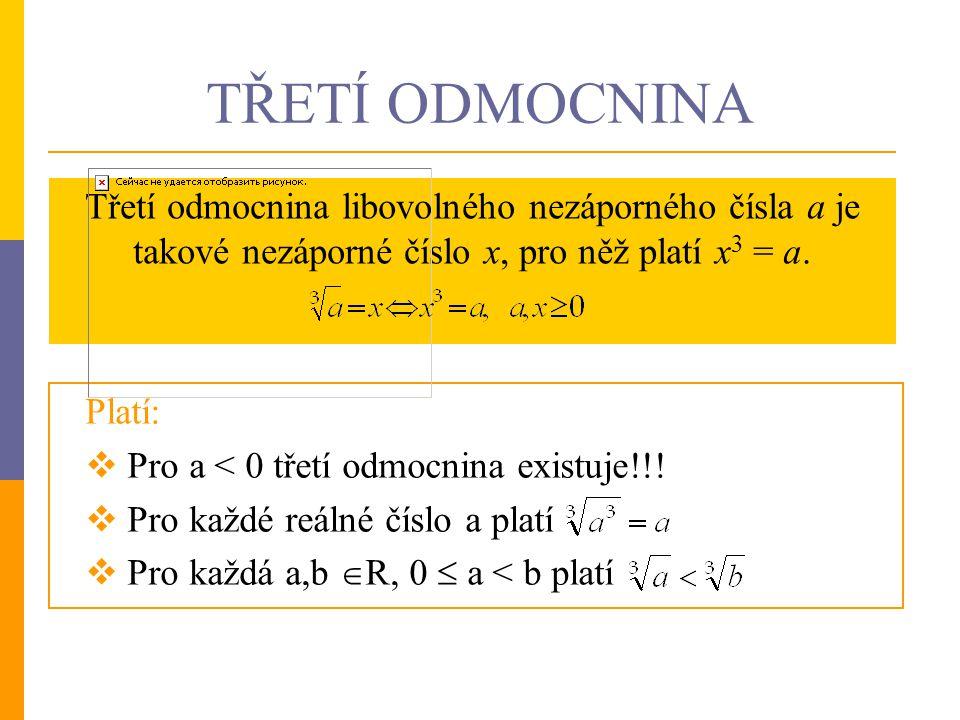 Cvičení: Příklad 1: Vypočítejte zpaměti: Příklad 2: Zapište definiční obory daných výrazů: Příklad 3: Částečně odmocněte dané výrazy: