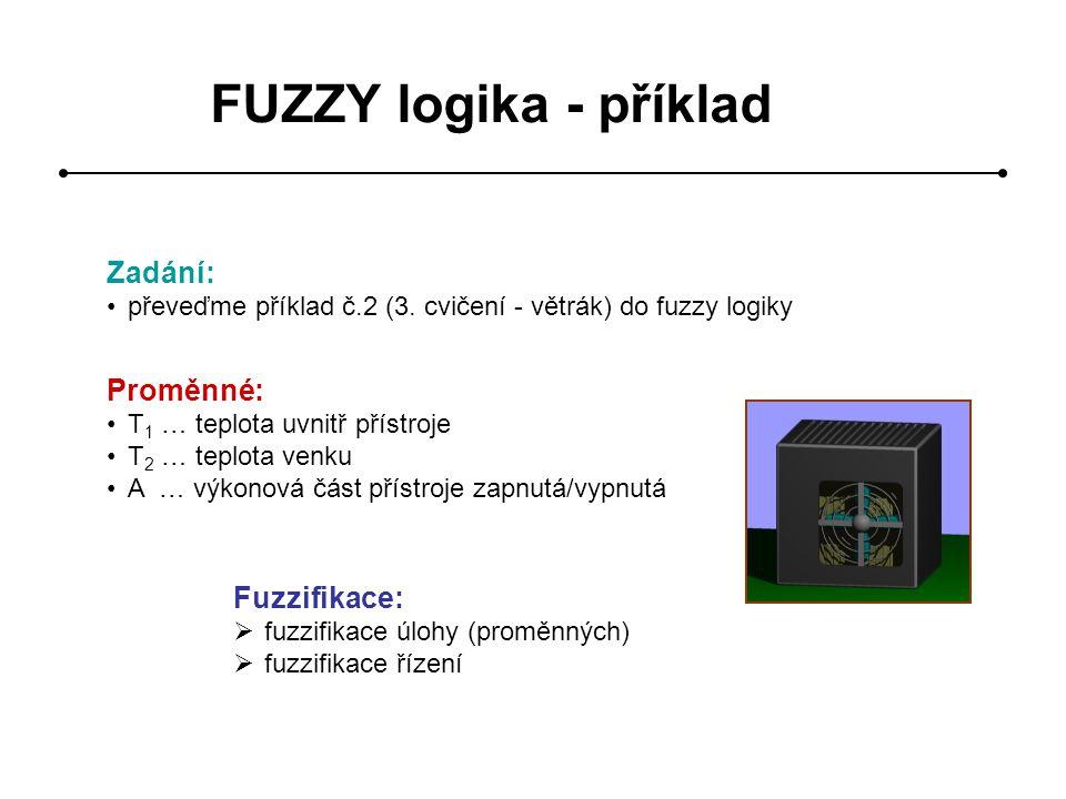 FUZZY logika - příklad Zadání: převeďme příklad č.2 (3. cvičení - větrák) do fuzzy logiky Proměnné: T 1 … teplota uvnitř přístroje T 2 … teplota venku