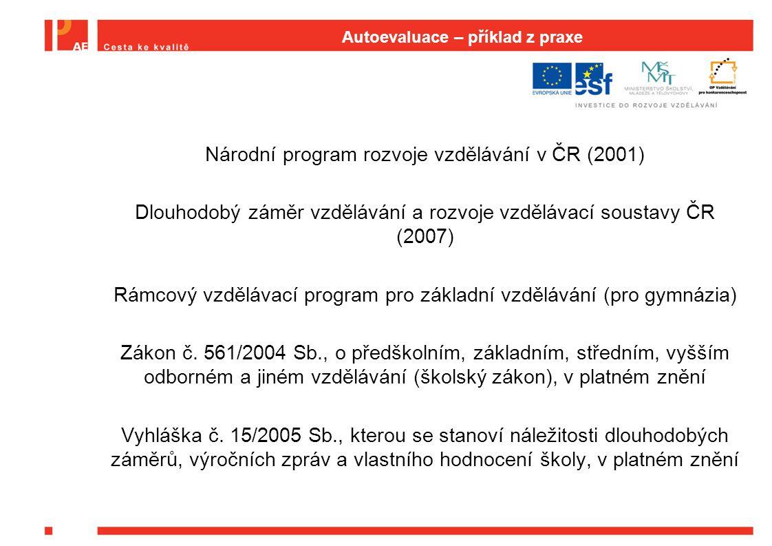 Autoevaluace – příklad z praxe Národní program rozvoje vzdělávání v ČR (2001) Dlouhodobý záměr vzdělávání a rozvoje vzdělávací soustavy ČR (2007) Rámc