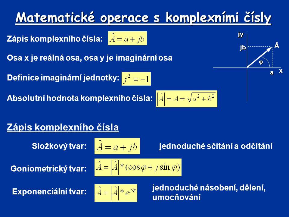 Matematické operace s komplexními čísly Zápis komplexního čísla: xjya jb  Osa x je reálná osa, osa y je imaginární osa Definice imaginární jednotky: Absolutní hodnota komplexního čísla: Zápis komplexního čísla Složkový tvar:jednoduché sčítání a odčítání Goniometrický tvar: Exponenciální tvar: jednoduché násobení, dělení, umocňování