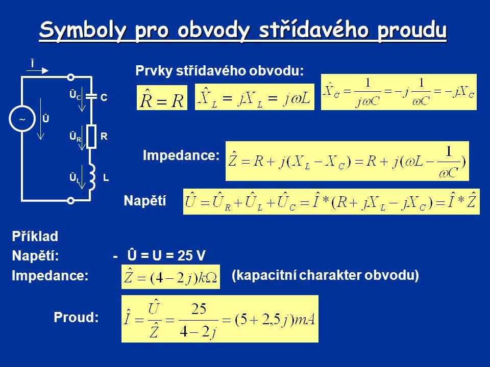 Symboly pro obvody střídavého proudu Prvky střídavého obvodu: Příklad Napětí:-Û = U = 25 V Impedance: Î  C Û ÛCÛC ÛRÛR R LÛLÛL Napětí (kapacitní charakter obvodu) Proud: