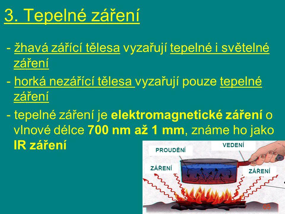 3. Tepelné záření - žhavá zářící tělesa vyzařují tepelné i světelné záření - horká nezářící tělesa vyzařují pouze tepelné záření - tepelné záření je e