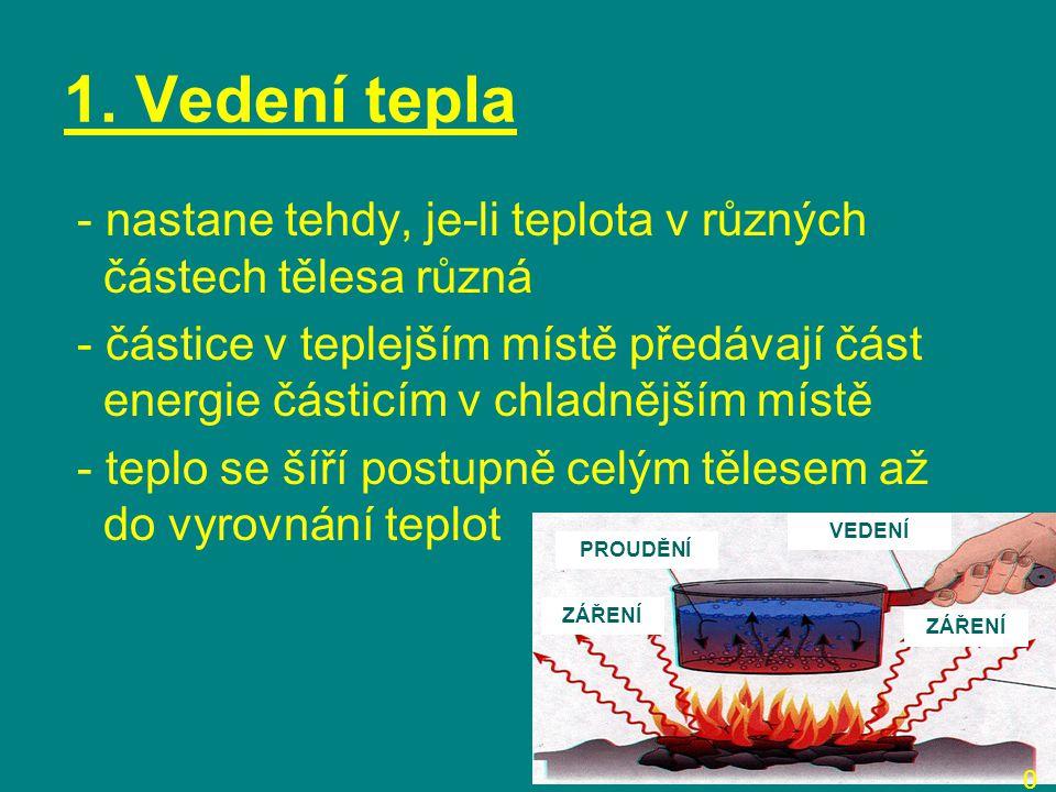 1. Vedení tepla - nastane tehdy, je-li teplota v různých částech tělesa různá - částice v teplejším místě předávají část energie částicím v chladnější
