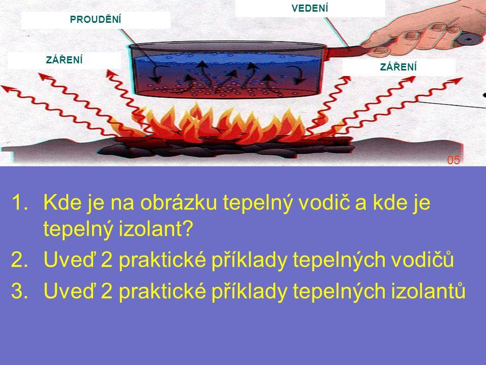 1.Kde je na obrázku tepelný vodič a kde je tepelný izolant? 2.Uveď 2 praktické příklady tepelných vodičů 3.Uveď 2 praktické příklady tepelných izolant