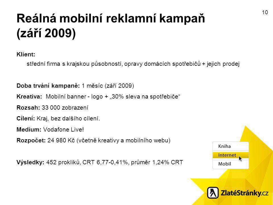 """10 Reálná mobilní reklamní kampaň (září 2009) Klient: střední firma s krajskou působností, opravy domácích spotřebičů + jejich prodej Doba trvání kampaně: 1 měsíc (září 2009) Kreativa: Mobilní banner - logo + """"30% sleva na spotřebiče Rozsah: 33 000 zobrazení Cílení: Kraj, bez dalšího cílení."""