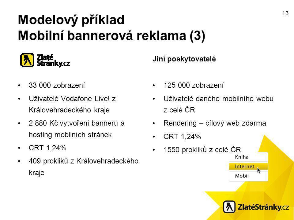 13 Modelový příklad Mobilní bannerová reklama (3) 33 000 zobrazení Uživatelé Vodafone Live.