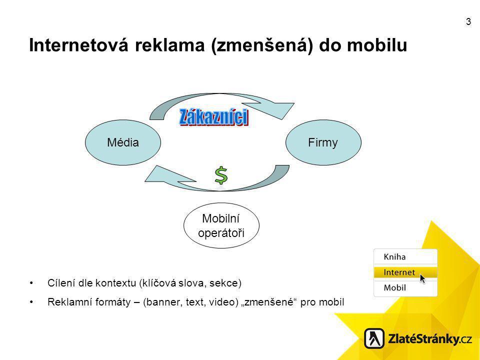 """3 Internetová reklama (zmenšená) do mobilu Cílení dle kontextu (klíčová slova, sekce) Reklamní formáty – (banner, text, video) """"zmenšené pro mobil Mobilní operátoři MédiaFirmy"""