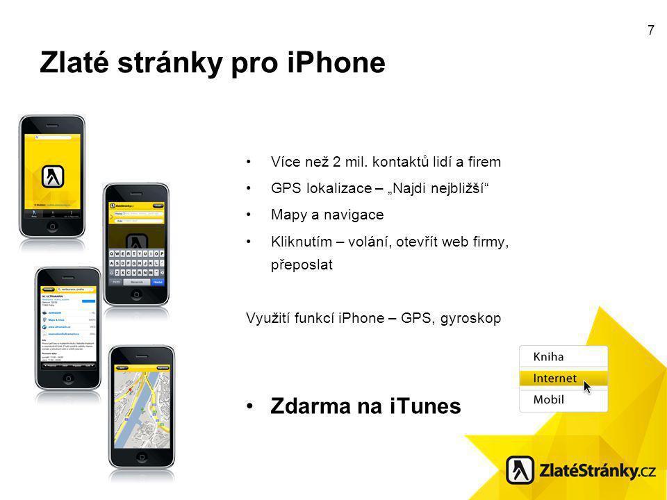 7 Zlaté stránky pro iPhone Více než 2 mil.