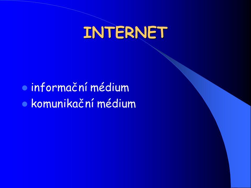 INTERNET informační médium komunikační médium