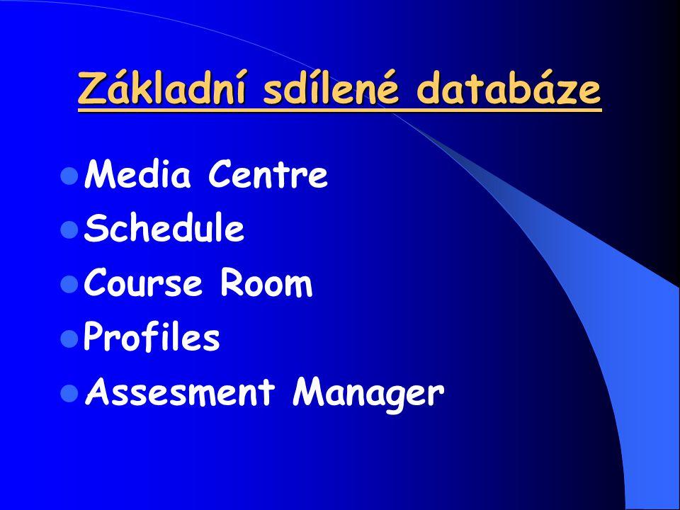 Media Centre Schedule Course Room Profiles Assesment Manager Základní sdílené databáze