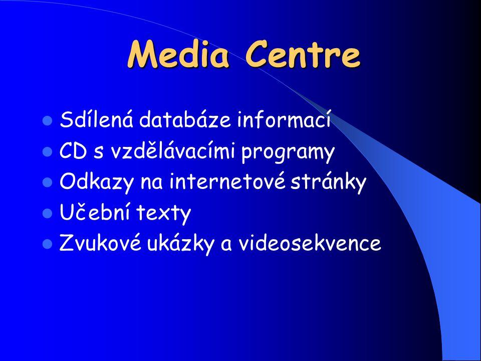 Media Centre Sdílená databáze informací CD s vzdělávacími programy Odkazy na internetové stránky Učební texty Zvukové ukázky a videosekvence