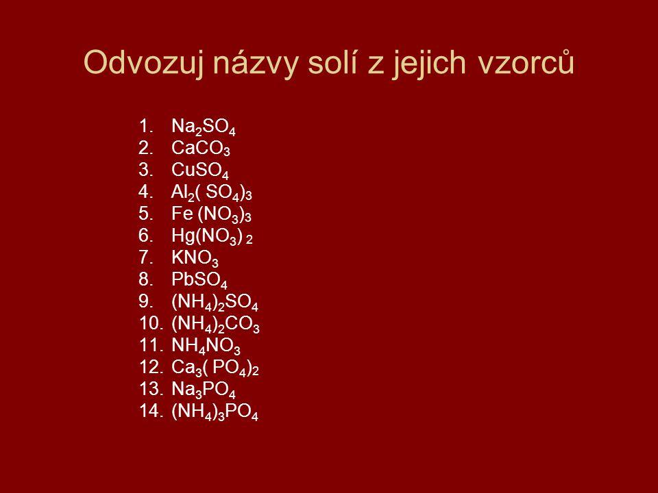 Odvozuj názvy solí z jejich vzorců 1.Na 2 SO 4 2.CaCO 3 3.CuSO 4 4.Al 2 ( SO 4 ) 3 5.Fe (NO 3 ) 3 6.Hg(NO 3 ) 2 7.KNO 3 8.PbSO 4 9.(NH 4 ) 2 SO 4 10.(NH 4 ) 2 CO 3 11.NH 4 NO 3 12.Ca 3 ( PO 4 ) 2 13.Na 3 PO 4 14.(NH 4 ) 3 PO 4