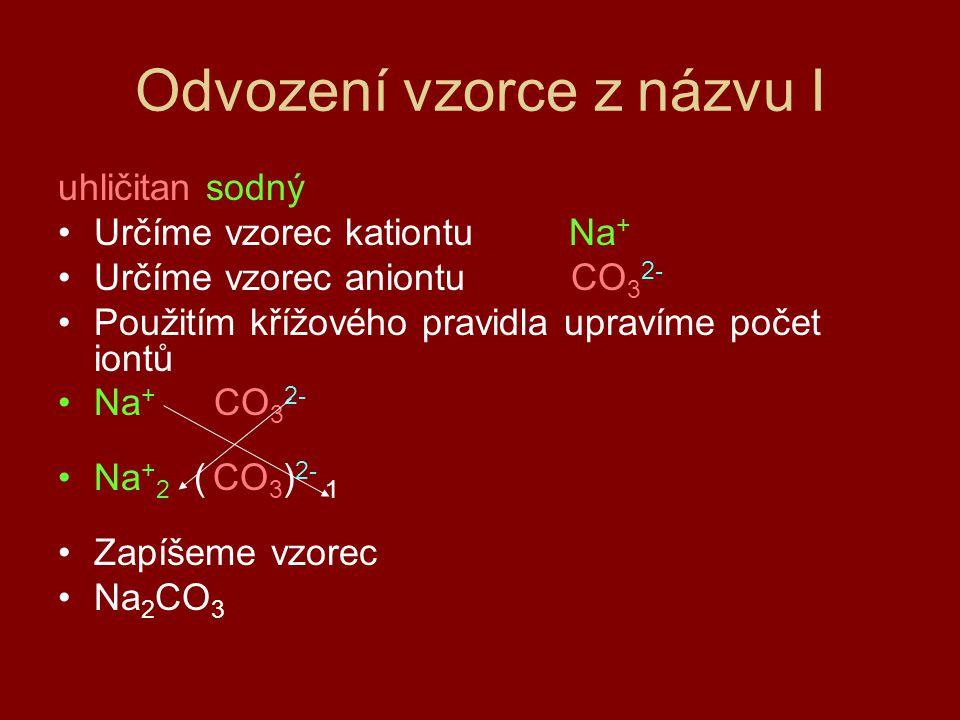 Odvození vzorce z názvu I uhličitan sodný Určíme vzorec kationtu Na + Určíme vzorec aniontu CO 3 2- Použitím křížového pravidla upravíme počet iontů Na + CO 3 2- Na + 2 ( CO 3 ) 2- 1 Zapíšeme vzorec Na 2 CO 3