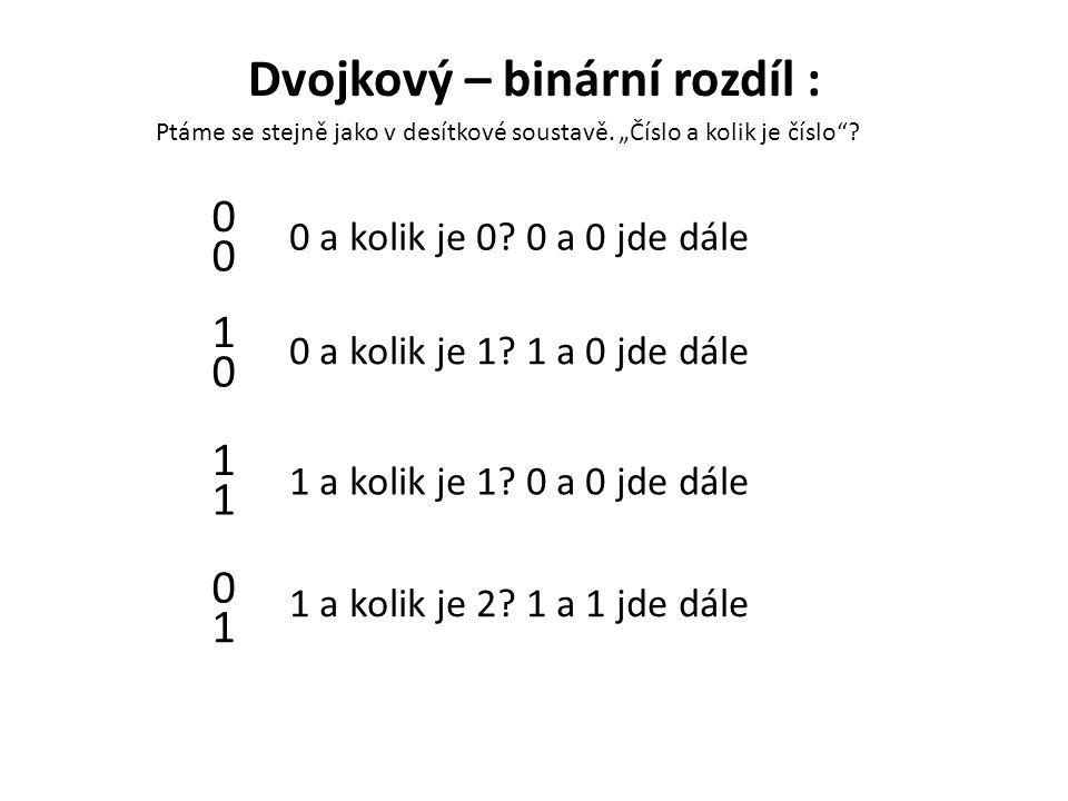 Dvojkový – binární rozdíl : 0 0 0 1 1 1 1 0 0 a kolik je 0? 0 a 0 jde dále 0 a kolik je 1? 1 a 0 jde dále 1 a kolik je 1? 0 a 0 jde dále 1 a kolik je