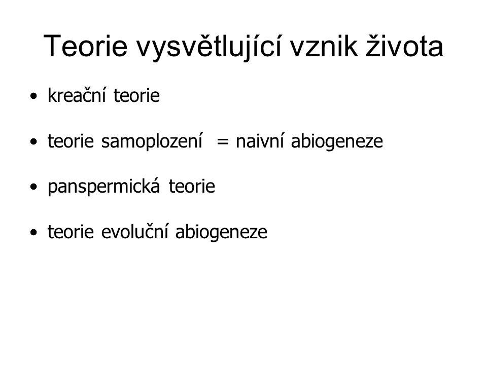 Teorie vysvětlující vznik života kreační teorie teorie samoplození = naivní abiogeneze panspermická teorie teorie evoluční abiogeneze