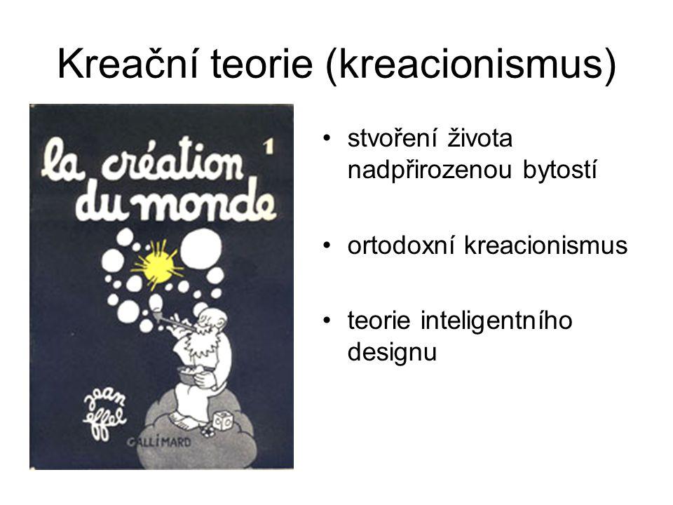 Kreační teorie (kreacionismus) stvoření života nadpřirozenou bytostí ortodoxní kreacionismus teorie inteligentního designu