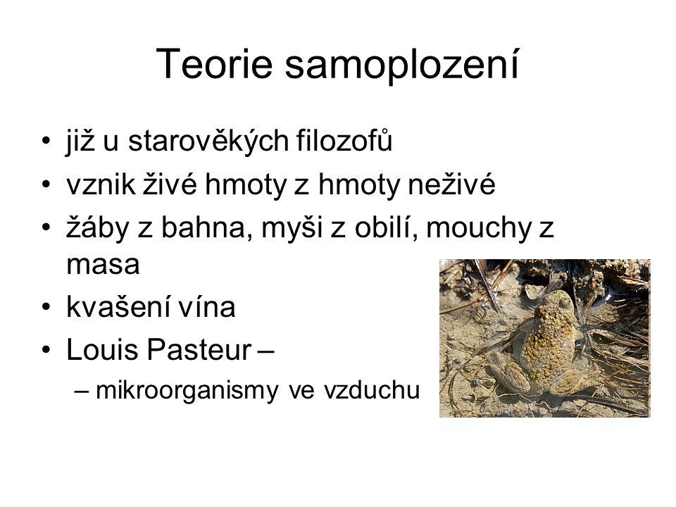 Teorie samoplození již u starověkých filozofů vznik živé hmoty z hmoty neživé žáby z bahna, myši z obilí, mouchy z masa kvašení vína Louis Pasteur – –mikroorganismy ve vzduchu