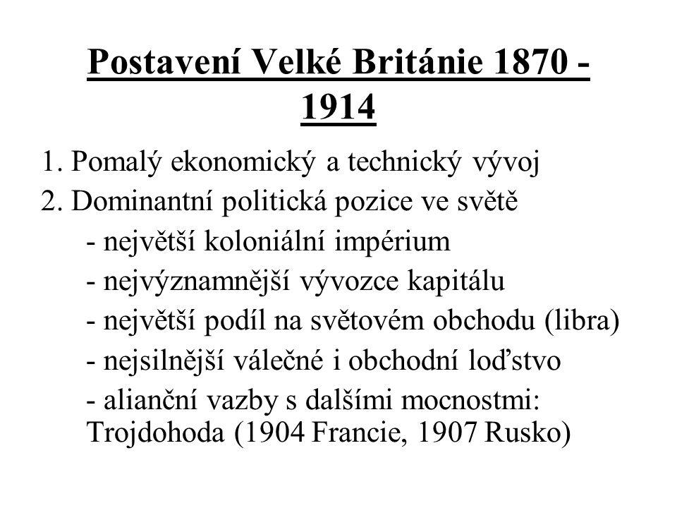 Změny v poměru síly velmocí v letech 1870 - 1914 Favorité Spojené státy Německo Velká Británie Outsideři Francie Rusko Rakousko-Uhersko