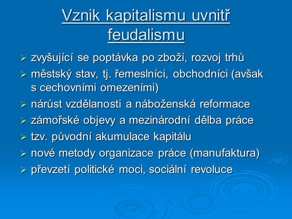 Charakteristika kapitalismu formálně rovnoprávné postavení vlastníků a výrobců formálně rovnoprávné postavení vlastníků a výrobců nerovné ekonomické p