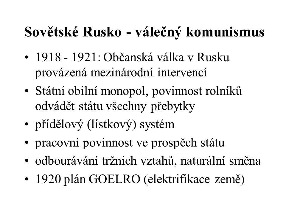 Sovětské Rusko - revoluční přeměny Dekret o půdě (pozemková reforma), konfiskace půdy cara, církve a velkostatků Kontrola výroby a rozdělování jako pr