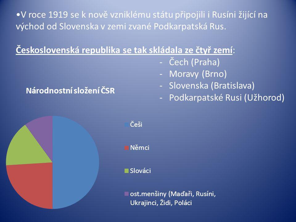V roce 1919 se k nově vzniklému státu připojili i Rusíni žijící na východ od Slovenska v zemi zvané Podkarpatská Rus. Československá republika se tak