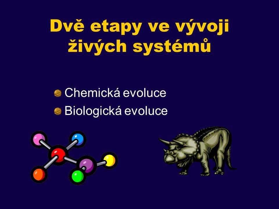 """Chemická evoluce Abiotický vznik chemických stavebních kamenů (nukleotidy, aminokyseliny) Vznik makromolekul Vznik """"replikace"""
