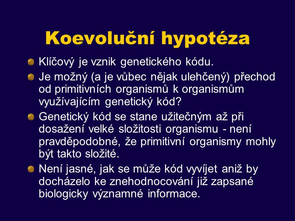 Koevoluční hypotéza Klíčový je vznik genetického kódu.
