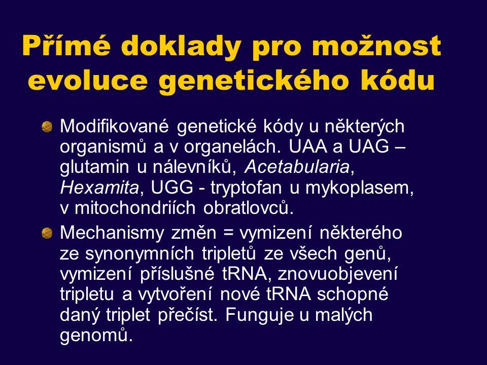 Přímé doklady pro možnost evoluce genetického kódu Modifikované genetické kódy u některých organismů a v organelách.