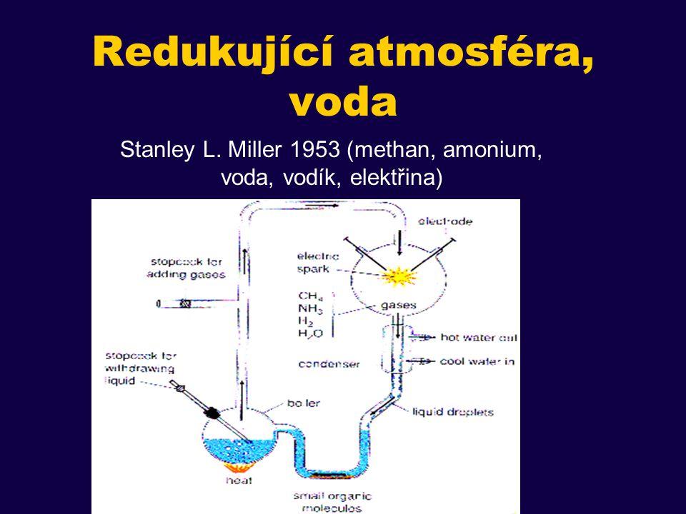 Redukující atmosféra, voda Stanley L. Miller 1953 (methan, amonium, voda, vodík, elektřina)