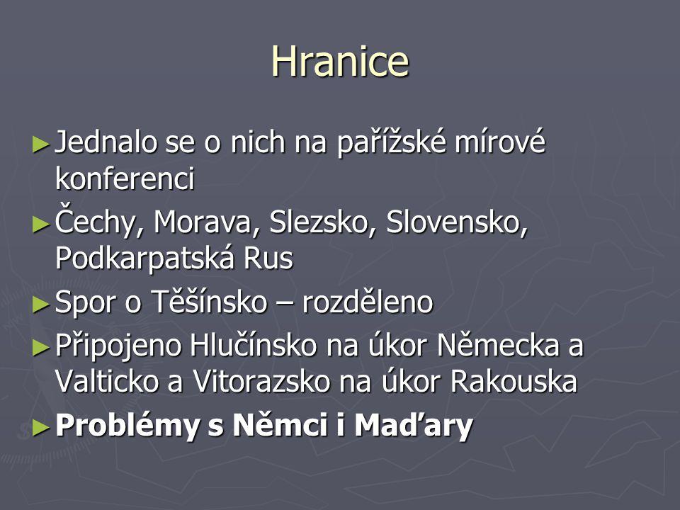 Hranice ► Jednalo se o nich na pařížské mírové konferenci ► Čechy, Morava, Slezsko, Slovensko, Podkarpatská Rus ► Spor o Těšínsko – rozděleno ► Připoj