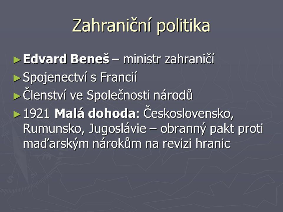 Zahraniční politika ► Edvard Beneš – ministr zahraničí ► Spojenectví s Francií ► Členství ve Společnosti národů ► 1921 Malá dohoda: Československo, Ru