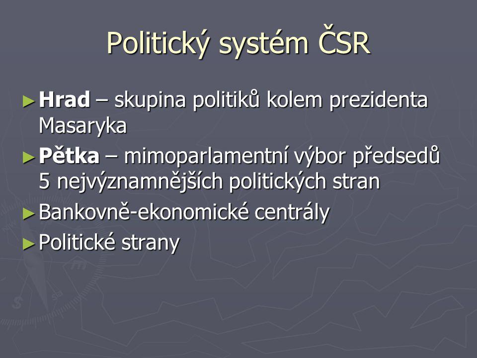 Politický systém ČSR ► Hrad – skupina politiků kolem prezidenta Masaryka ► Pětka – mimoparlamentní výbor předsedů 5 nejvýznamnějších politických stran
