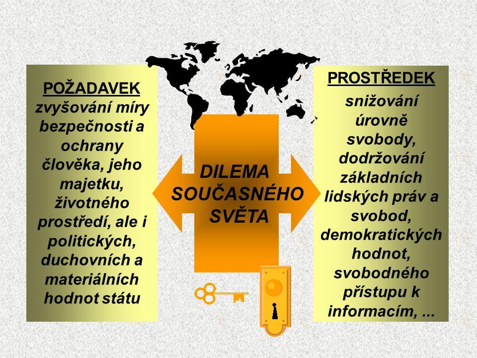 POŽADAVEK zvyšování míry bezpečnosti a ochrany člověka, jeho majetku, životného prostředí, ale i politických, duchovních a materiálních hodnot státu PROSTŘEDEK snižování úrovně svobody, dodržování základních lidských práv a svobod, demokratických hodnot, svobodného přístupu k informacím,...