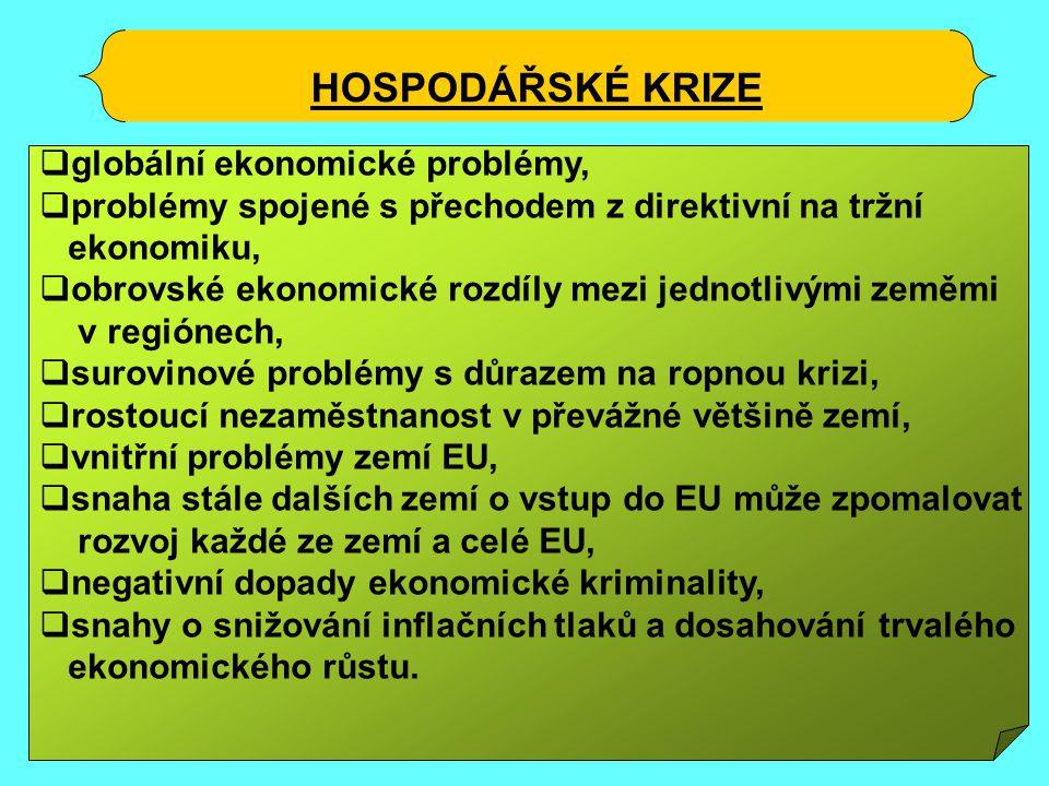 HOSPODÁŘSKÉ KRIZE  globální ekonomické problémy,  problémy spojené s přechodem z direktivní na tržní ekonomiku,  obrovské ekonomické rozdíly mezi jednotlivými zeměmi v regiónech,  surovinové problémy s důrazem na ropnou krizi,  rostoucí nezaměstnanost v převážné většině zemí,  vnitřní problémy zemí EU,  snaha stále dalších zemí o vstup do EU může zpomalovat rozvoj každé ze zemí a celé EU,  negativní dopady ekonomické kriminality,  snahy o snižování inflačních tlaků a dosahování trvalého ekonomického růstu.