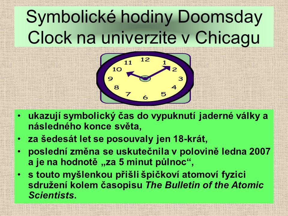 """ukazují symbolický čas do vypuknutí jaderné války a následného konce světa, za šedesát let se posouvaly jen 18-krát, poslední změna se uskutečnila v polovině ledna 2007 a je na hodnotě """"za 5 minut půlnoc , s touto myšlenkou přišli špičkoví atomoví fyzici sdružení kolem časopisu The Bulletin of the Atomic Scientists."""