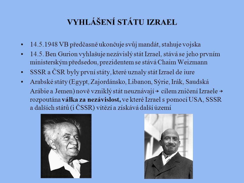 VYHLÁŠENÍ STÁTU IZRAEL 14.5.1948 VB předčasně ukončuje svůj mandát, stahuje vojska 14.5. Ben Gurion vyhlašuje nezávislý stát Izrael, stává se jeho prv