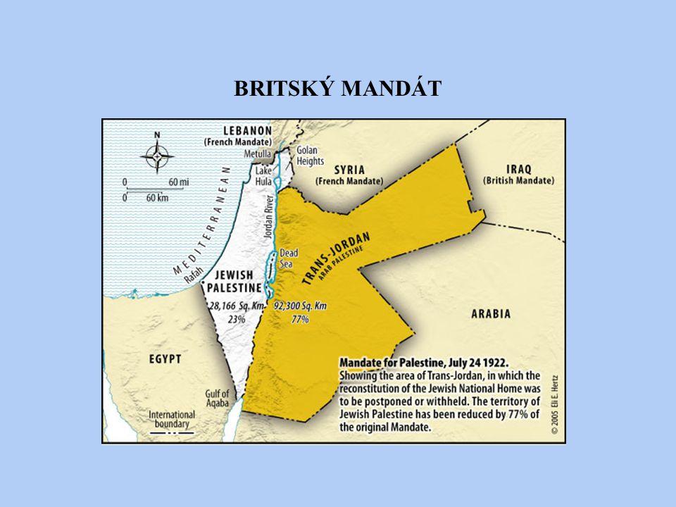 KONFLIKTY BĚHEM BRITSKÉHO MANDÁTU Obě komunity si činí nárok na území r.1920-21 Arabové podnikají protižidovské útoky r.1922 Churchillova Bílá kniha VB se distancuje od extrémních sionistických požadavků (-požadování nejen celé Palestiny, ale i Zajordánska), slibuje, že bude chránit arabské zájmy r.1930 Passfieldova Bílá kniha VB se staví na stranu Arabů (doufá, že takto zvládne vzrůstající arabský nacionalismus) → SO obviňuje VB z porušení Balfourovy deklarace → Weizmannovi zaslán omluvný dopis Situace eskaluje v arabskou vzpouru (přepady židovských osad x Haganah: židovská bojová organizace, obrana žid.osad, proti politice odplaty) Britská vláda vysílá do Palestiny Peelovu komisi, která v r.1937 předkládá plán na rozdělení země na tři části → závěry Peelovy komise byli Araby i sionisty odmítnuty květen 1939 Bílá kniha ~ VB prohlašuje, že se má Palestina do deseti let stát jednotným nezávislým státem s arabskou většinou, výrazně omezuje židovské přistěhovalectví (VB si uvědomuje, že může arabská podpora lépe zabezpečit pozice na BV) ~ pro Židy to znamenalo zrušení Balfourovy deklarace