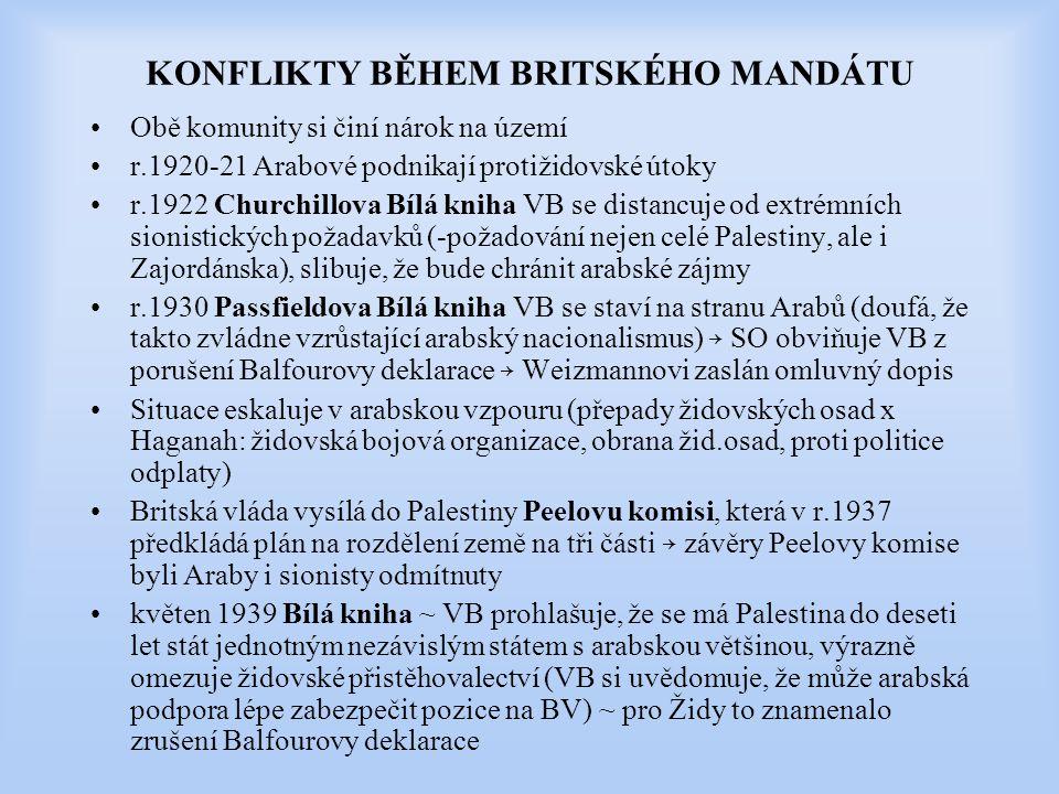 KONFLIKTY BĚHEM BRITSKÉHO MANDÁTU Obě komunity si činí nárok na území r.1920-21 Arabové podnikají protižidovské útoky r.1922 Churchillova Bílá kniha V