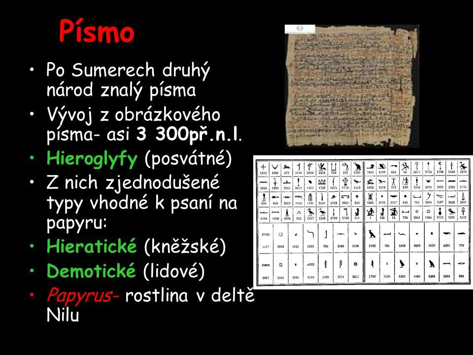 Písmo Po Sumerech druhý národ znalý písma Vývoj z obrázkového písma- asi 3 300př.n.l.
