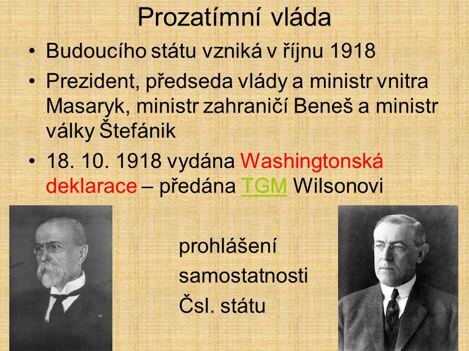 Národní výbor Stál v čele domácího odboje Byl v kontaktu s Národní radou československou 14. 10. 1918 protestní akce proti vývozu potravin přerostla v