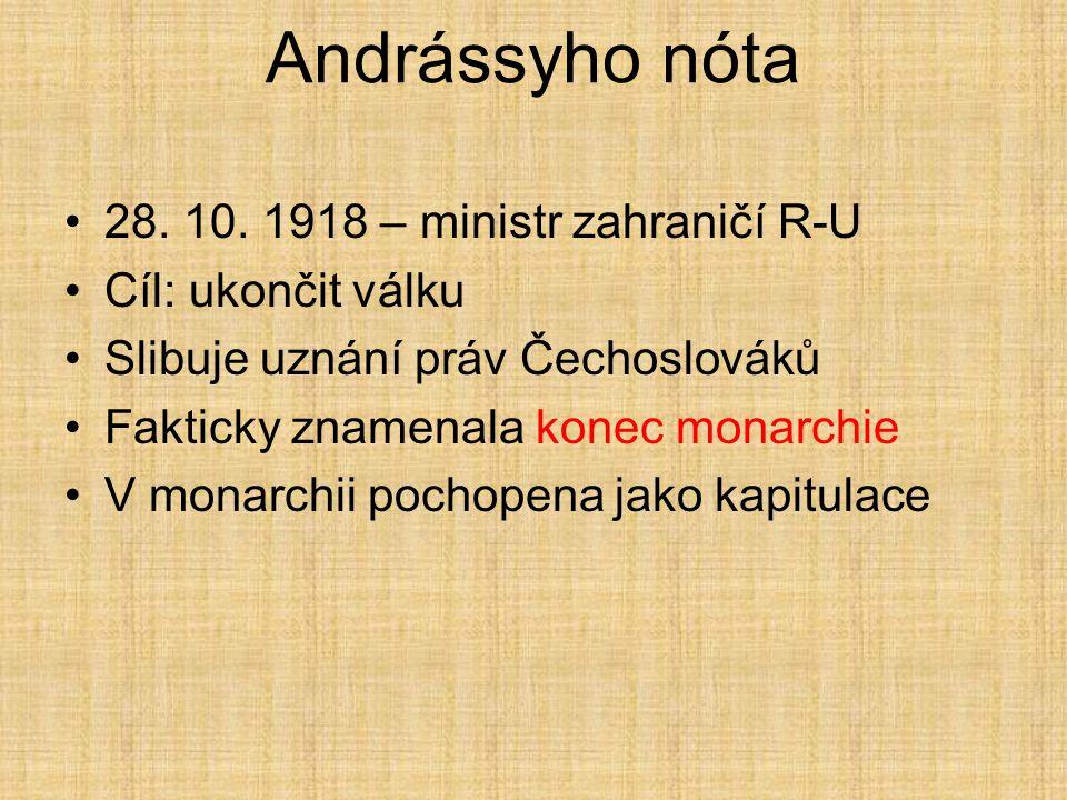 Prozatímní vláda Budoucího státu vzniká v říjnu 1918 Prezident, předseda vlády a ministr vnitra Masaryk, ministr zahraničí Beneš a ministr války Štefá