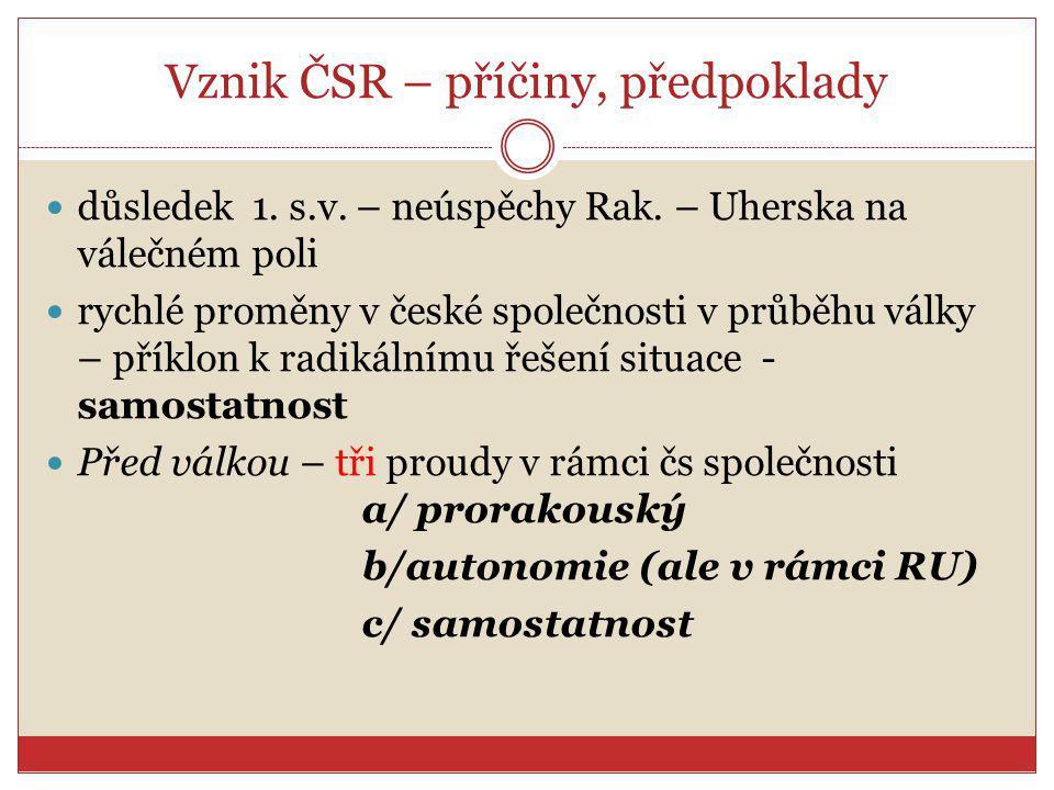 Vznik ČSR – příčiny, předpoklady důsledek 1. s.v. – neúspěchy Rak. – Uherska na válečném poli rychlé proměny v české společnosti v průběhu války – pří