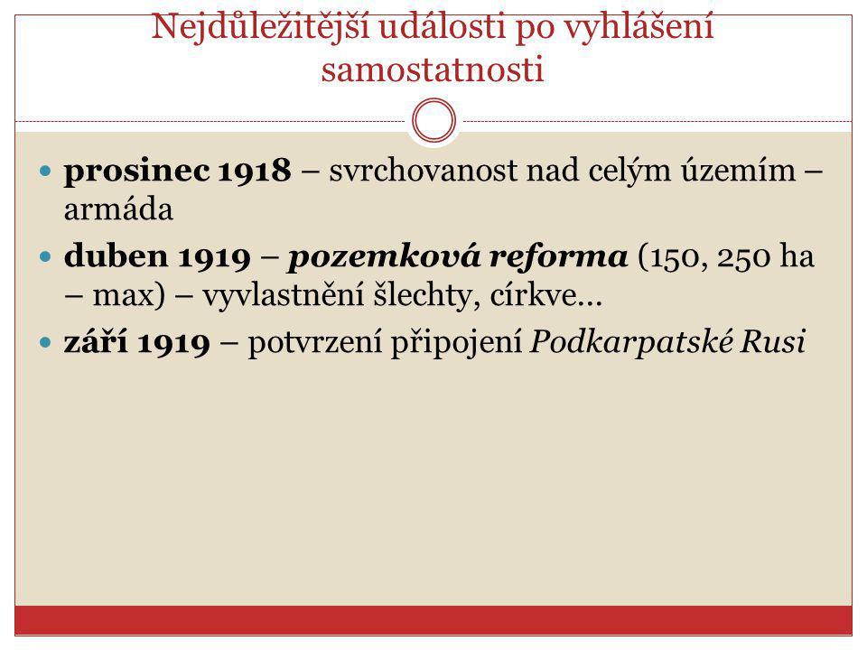 Nejdůležitější události po vyhlášení samostatnosti prosinec 1918 – svrchovanost nad celým územím – armáda duben 1919 – pozemková reforma (150, 250 ha