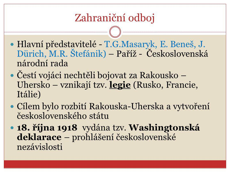 Zahraniční odboj Hlavní představitelé - T.G.Masaryk, E. Beneš, J. Dürich, M.R. Štefánik) – Paříž - Československá národní rada Čestí vojáci nechtěli b