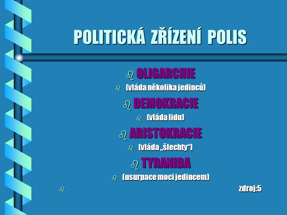 """POLITICKÁ ZŘÍZENÍ POLIS b OLIGARCHIE b (vláda několika jedinců) b DEMOKRACIE b (vláda lidu) b ARISTOKRACIE b (vláda """"šlechty ) b TYRANIDA b (usurpace moci jedincem) b zdroj:5"""