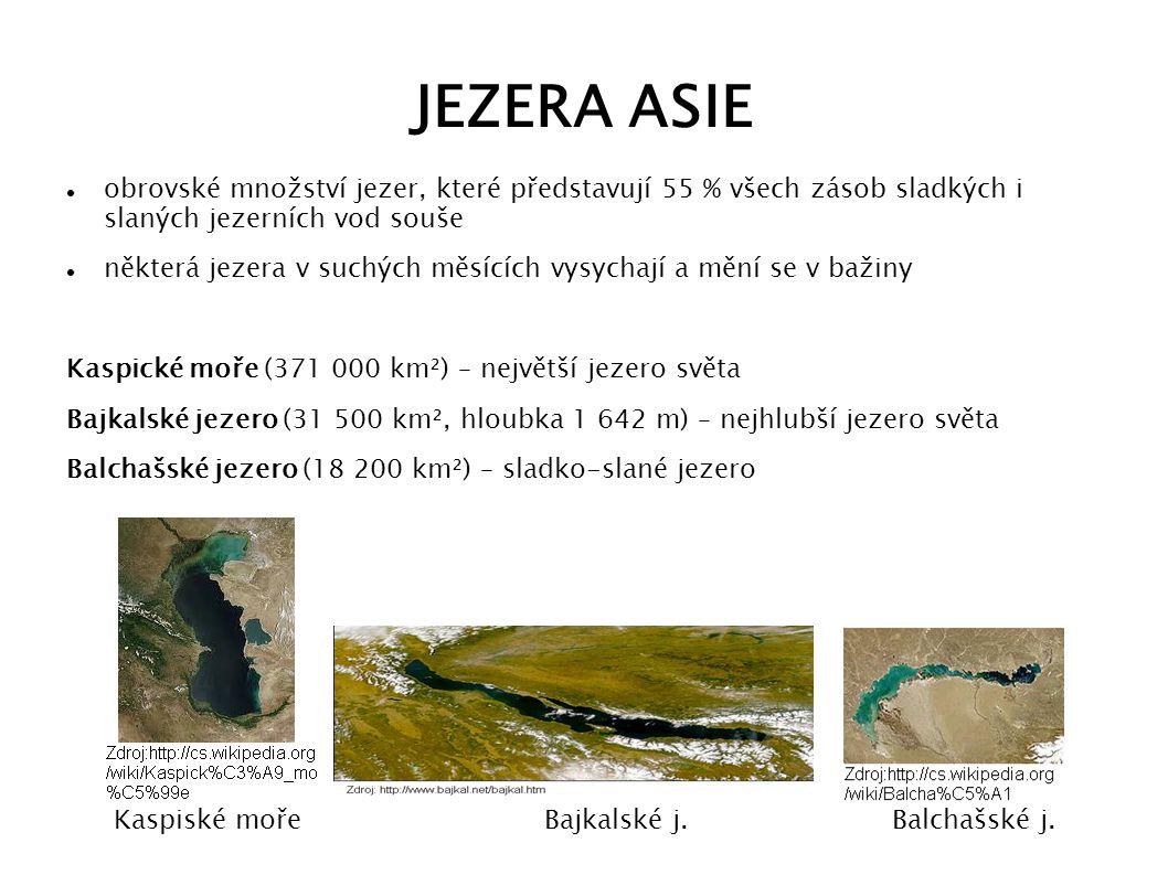 JEZERA ASIE obrovské množství jezer, které představují 55 % všech zásob sladkých i slaných jezerních vod souše některá jezera v suchých měsících vysyc