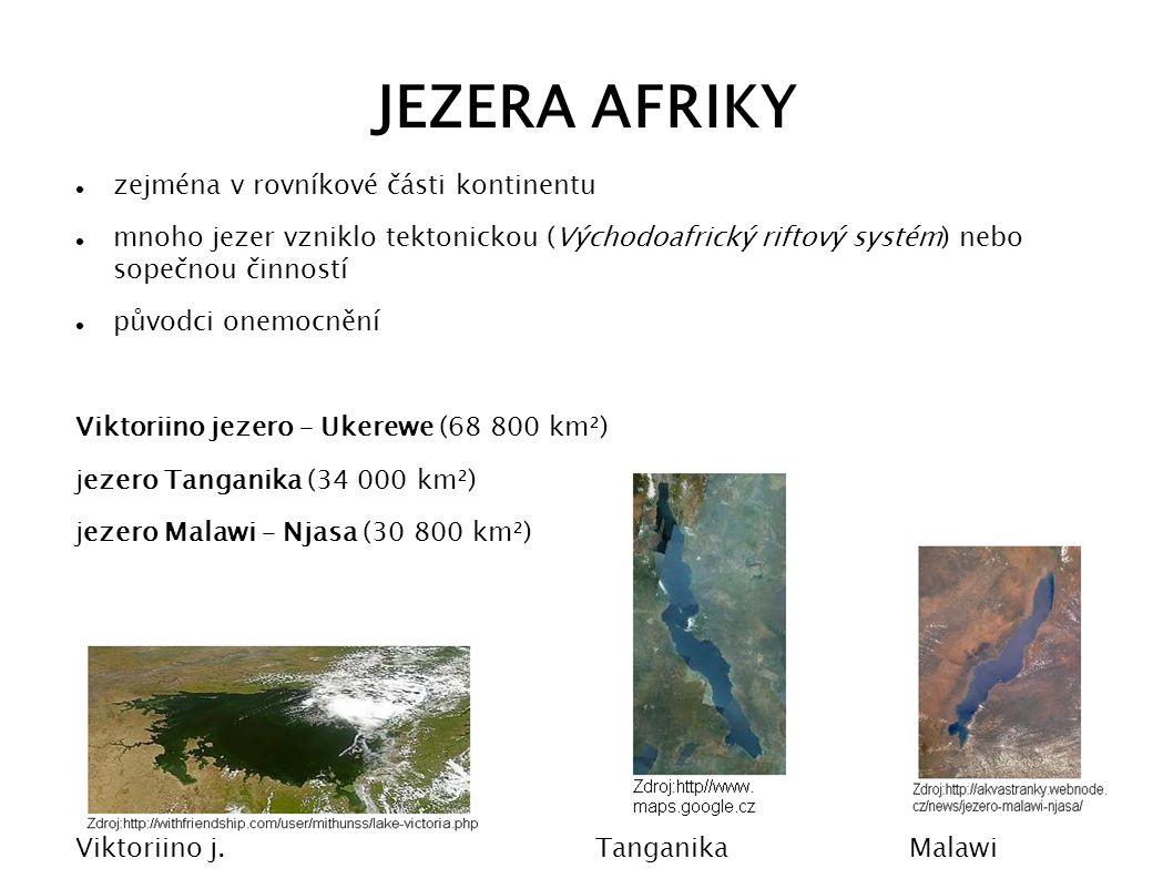 JEZERA AFRIKY zejména v rovníkové části kontinentu mnoho jezer vzniklo tektonickou (Východoafrický riftový systém) nebo sopečnou činností původci onem